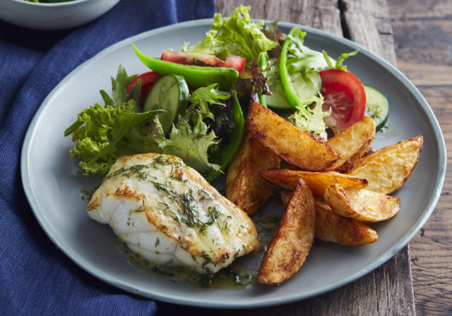 Fish with Smoked Paprika and Parmesan Potato Wedges