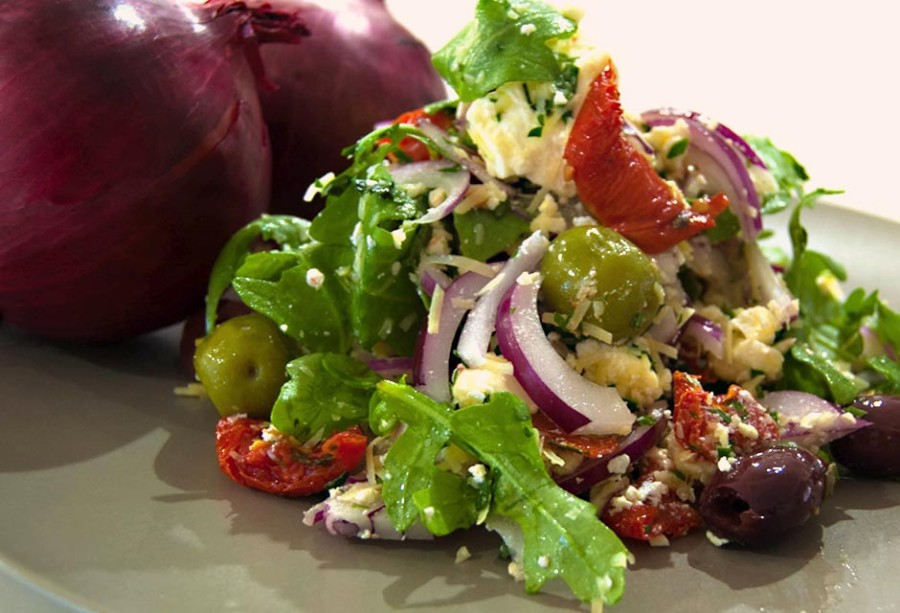Red Onion, Feta Cheese, Sun Dried Tomato's & Duo of Olives