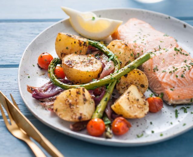 Roasted Spud Lite with Tray Baked Salmon