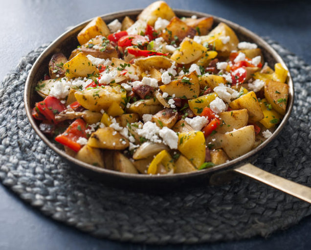 Spud Lite Potato Hash with Chorizo, Capsicum and Goats Curd