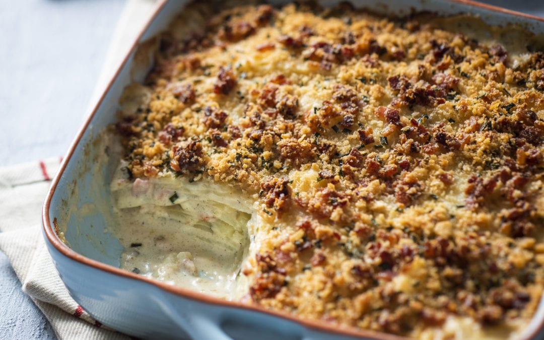 Smoky Bacon, Garlic & Chive Potato Bake