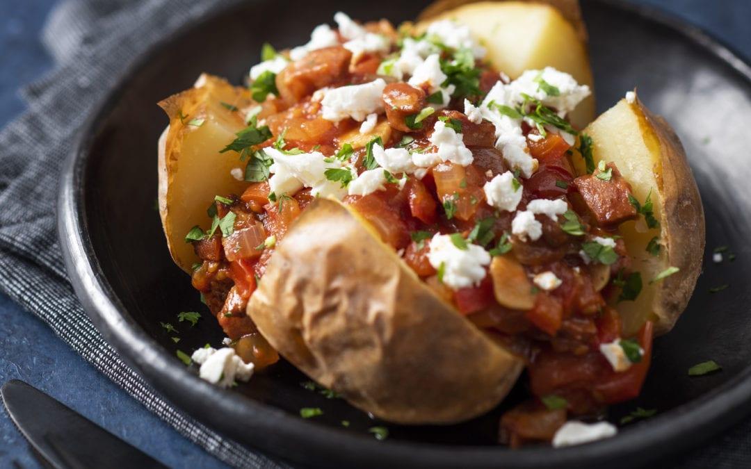 Baked Potatoes with Chorizo, Red Capsicum & Tomato Ragu