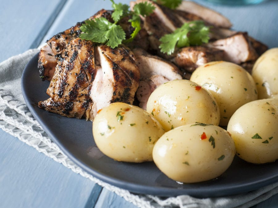 Garlic and Soy Chicken with Spud Lite Micro Potatoes