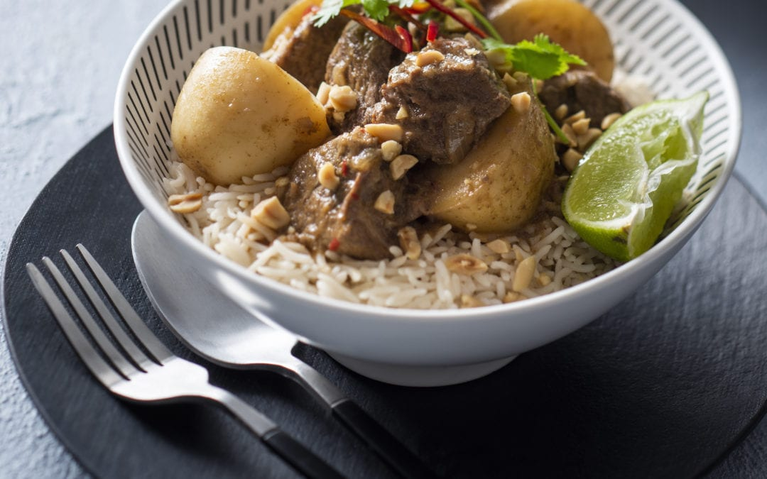 Slow Cooked Beef Mussaman with Baby Potatoes and Toasted Peanuts