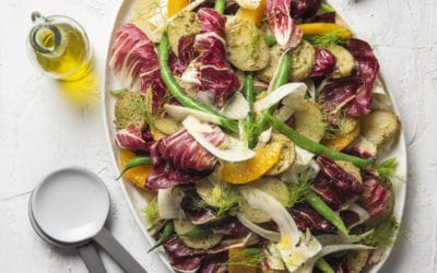 Potato, Green Bean, Radicchio, Orange and Pesto Salad (Plant Based)