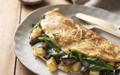 Potato, Mushroom, Spinach & Goats Cheese Omelette