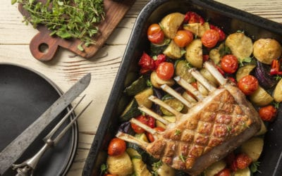 Tray Roasted Rack of Lamb and Roasted Vegetables
