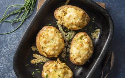 Twice Baked Potatoes with Horseradish, Grainy Mustard and Chives