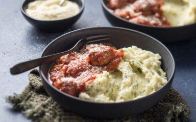 Italian Style Meatballs with Basil & Parmesan Mashed Potato